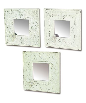White & Blue Metal Mirror Set