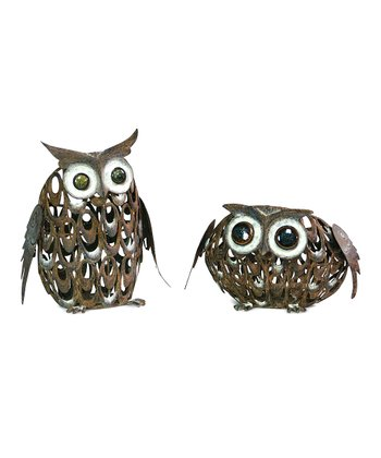 Small Rust Owl Figurine Set
