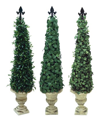 Green Slim Ivy & Myrtle Cone Tree Set