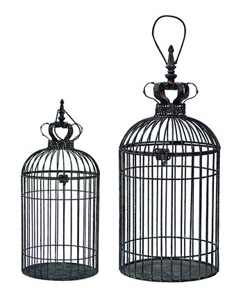 Antique Crown Birdcage Set