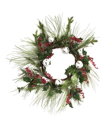 Green & Red Bell Pine & Berry Wreath