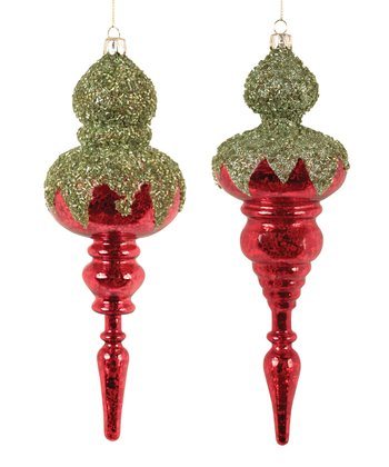 Green & Red Beaded Finial Ornament - Set of Two
