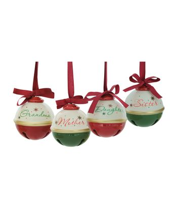 Green & Red Jingle Bell Ornament Set