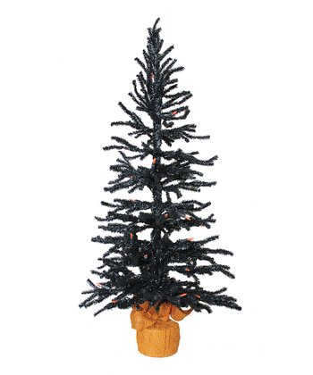 Black & Orange 36'' Light-Up Tree