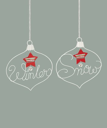 Red & White 'Winter' & 'Snow' Plaque Set