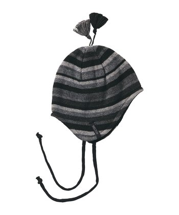 Gray Stripe Pom-Pom Wool-Blend Earflap Beanie