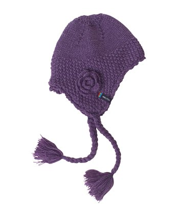 Purple Flower Earflap Beanie