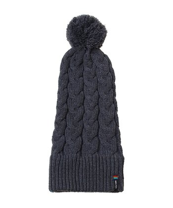 Gray Cable-Knit Pom-Pom Beanie