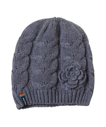 Gray Cable-Knit Flower Beanie