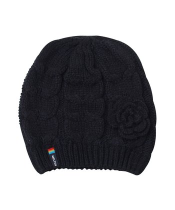 Navy Cable-Knit Flower Beanie