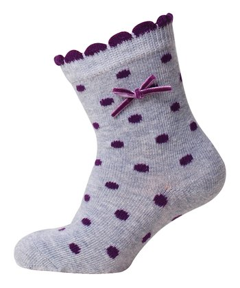 Purple & Gray Polka Dot Bow Socks