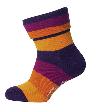 Purple & Orange Stripe Sock