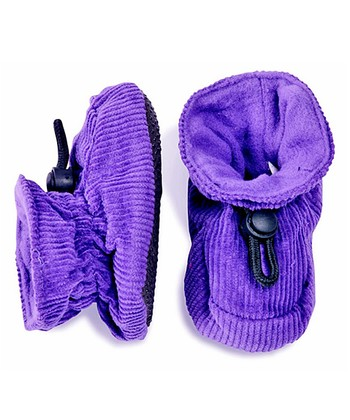 Bright Purple Corduroy Booties