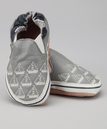 Melton Baby Gray Boat Booties