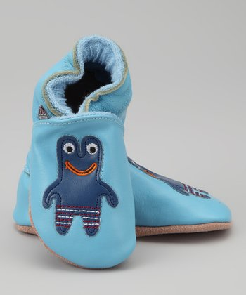 Melton Baby Blue Frog Booties