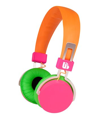 Orange & Pink Urban Beatz Neon Headphones
