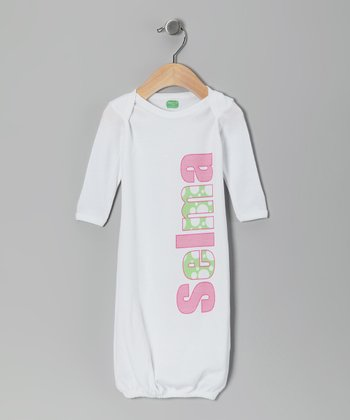 Pink & Green Personalized Gown - Infant