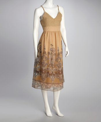 Taupe Paisley Crocheted Dress