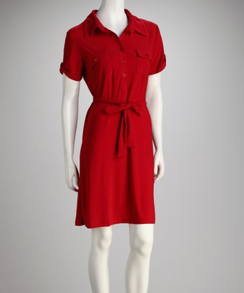 Red Short-Sleeve Shirt Dress