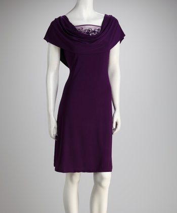 Purple Drape Neck Dress