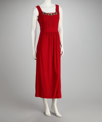 Red Beaded Pleated Maxi Dress