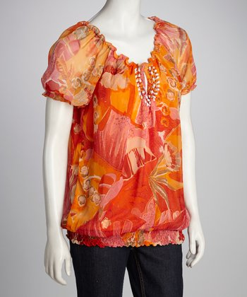 Orange & Red Floral Peasant Top