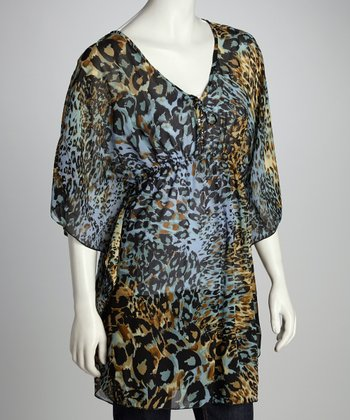 Blue & Yellow Sheer Leopard Tunic