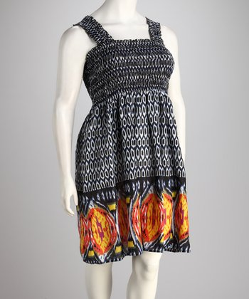 Blue & Orange Shirred Sleeveless Dress - Plus
