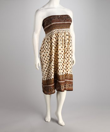 Brown & Cream Shirred Strapless Dress - Plus