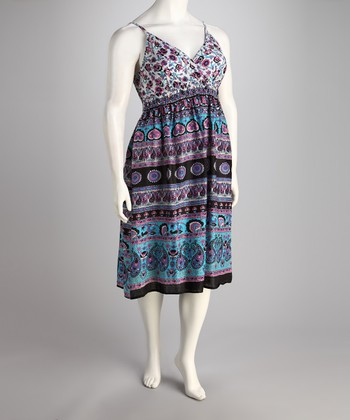Blue & Purple Shirred V-Neck Dress - Plus