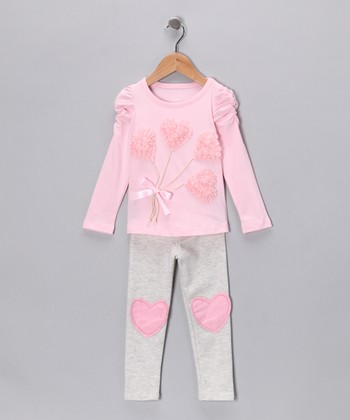 Pink & Gray Heart Bouquet Tunic & Leggings - Toddler