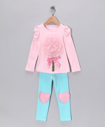 Pink Flower Tunic & Turquoise Heart Leggings - Girls