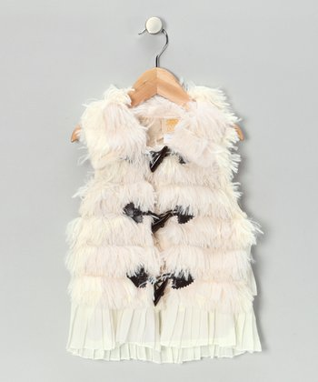 White Furry Ruffle Vest - Toddler & Girls