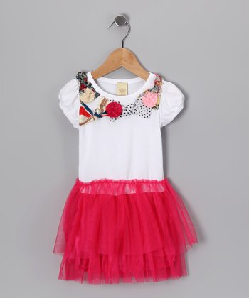White & Hot Pink Tutu Dress - Toddler