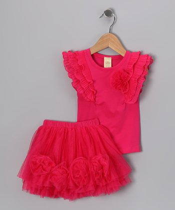 Hot Pink Angel-Sleeve Tee & Tutu - Toddler & Girls