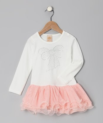White & Pink Bow Ruffle Dress - Toddler & Girls