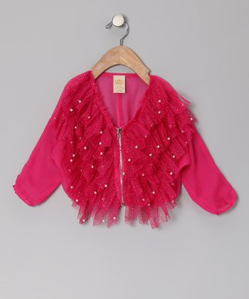 Hot Pink Tulle Pearl Jacket - Toddler & Girls