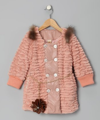 Dusty Rose & Gray Faux Fur Jacket - Girls
