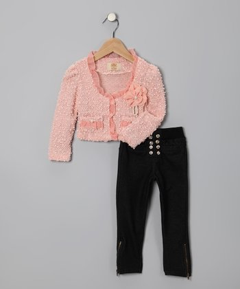 Pink Pearl Tweed Jacket & Black Jeggings - Toddler & Girls