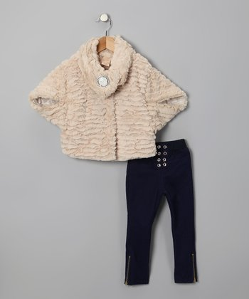 Crème Faux Fur Jacket & Jeggings - Toddler & Girls