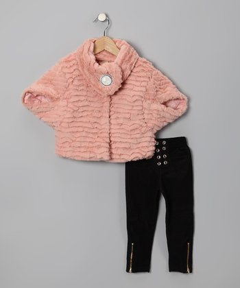 Pink Faux Fur Jacket & Jeggings - Toddler & Girls