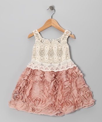 Pink & Crème Crocheted Lace Rosette Dress - Toddler