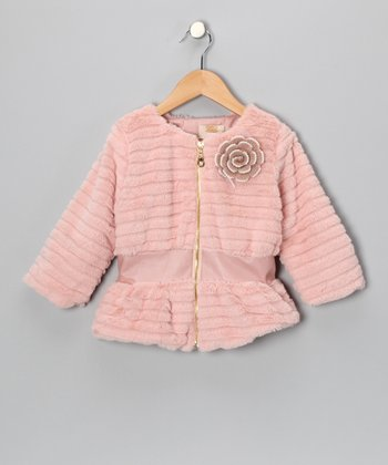 Mia Belle Baby Pink Faux Fur Jacket - Toddler