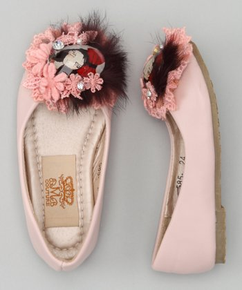 Pink Feather Brooch Ballet Flat