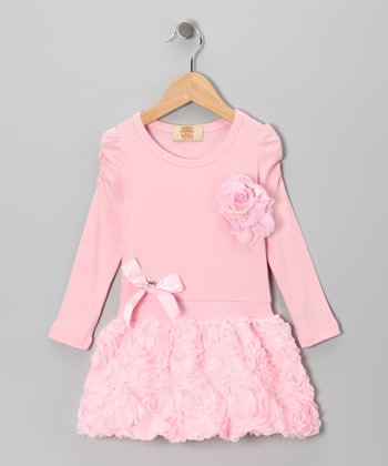 Pink Ruffle Rose Dress - Toddler & Girls