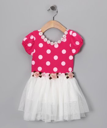 Pink & White Polka Dot Dress - Toddler
