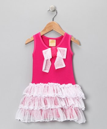 Hot Pink & White Ruffle Dress - Toddler & Girls