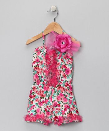 Hot Pink Floral Romper - Toddler & Girls