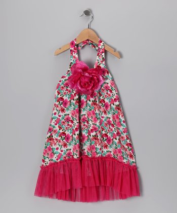 Hot Pink Floral Dress - Toddler & Girls