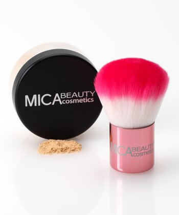 Porcelain Mineral Foundation Powder & Kabuki Brush